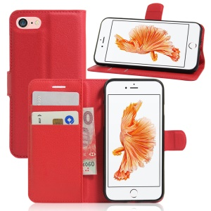 Litchi Grain Leather Wallet Flip Case Shell para iPhone 8 / 7 4.7 inch - vermelho