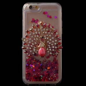 For iPhone 6s/6 3D Bling Rhinestone Dynamic Liquid Glitter Powder TPU Phone Case - Peacock / Red