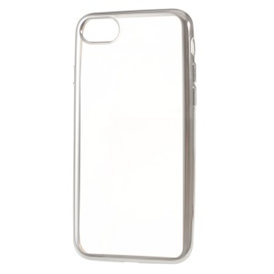 Electroplating Edge Clear TPU Back Case for iPhone 8 / 7 4.7 inch - Silver