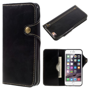 Top Layer Cowhide Leather Phone Case for iPhone 6s / 6 - Black