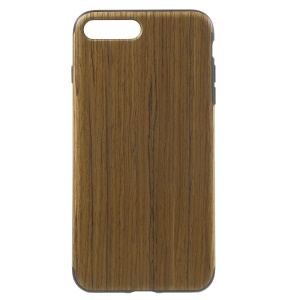 Wood Texture Leather Coated Gel TPU Cover for iPhone 7 Plus 5.5 inch - Light Brown