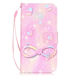 Patterned Leather Wallet Stand Case for iPhone 8 / 7 4.7 inch - Heart and Starry Sky