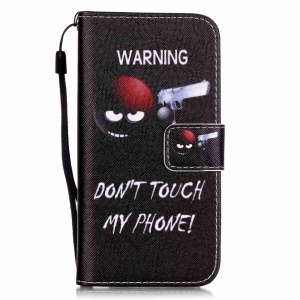 For iPhone 8 / 7 4.7 inch Leather Flip Case - Warning Do Not Touch My Phone