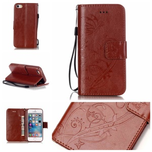 Imprint Butterfly Plant Leather Protective Case for iPhone SE/5s/5 - Brown