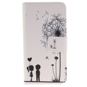 Pattern Printing Leather Wallet Case for iPhone 8 / 7 4.7 inch - Dandelion and Lovers