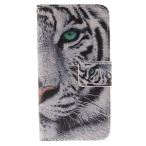 Wallet Stand Leather Case for iPhone 8 / 7 4.7 inch - Tiger with Green Eye