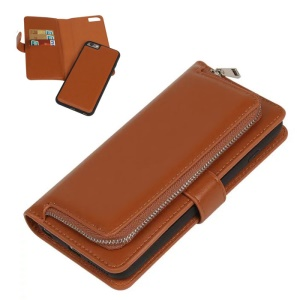 2 in 1 Detachable Leather Case for iPhone 6s 6 with Card Slots & Zippered Pocket - Brown