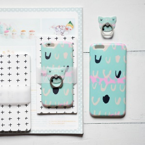 MAOXIN Patterned Silicone Case with Finger Ring Stand for iPhone 6s Plus/6 Plus - U Pattern