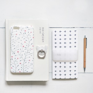 MAOXIN Patterned Silicone Cover with Ring Stand for iPhone 6s Plus/6 Plus - Spring Flower