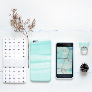 MAOXIN for iPhone 6s Plus/6 Plus Patterned Silicone Protection Case - Cyan Rock