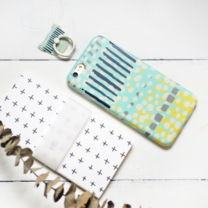 MAOXIN for iPhone 6s Plus/6 Plus Silicone Cover with Ring Holder - Dots and Stripes