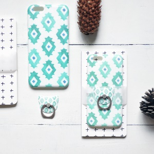 MAOXIN Patterned Silicone Case with Ring Stand for iPhone 6s Plus/6 Plus - Abstract Eyes