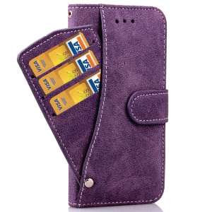 Matte Flip Leather Wallet Case for iPhone 6s Plus/6 plus with Magnetic Closure - Purple