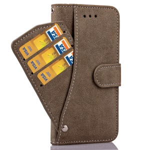 Matte Flip Leather Wallet Cover Case for iPhone 6s Plus/6 plus with Magnetic Closure - Coffee