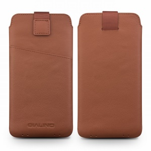 QIALINO Genuine Leather Shell Felt Pouch with Card Holder for iPhone 6s/6 - Brown