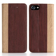 Bi-color Wood Texture Leather Wallet Stand Cover for iPhone 7 4.7 inch - Wine Red