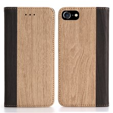 Bi-color Wood Grain Wallet Stand Leather Shell for iPhone 7 4.7 inch - Khaki