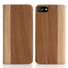 Bi-color Wood Texture Wallet Leather Folio Stand Case for iPhone 7 4.7 inch - Brown
