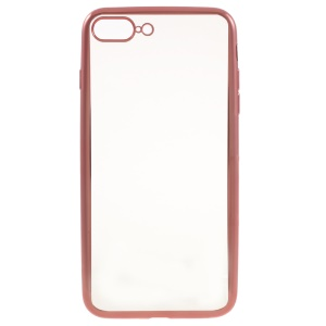 Electroplating TPU Clear Skin Cover for iPhone 7 Plus 5.5 Inch - Rose Gold