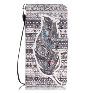 Patterned Leather Stand Cover for iPhone 7 - Tribal Pattern & Feather