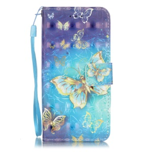 Patterned Leather Stand Flip Cover for iPhone 8 / 7 4.7 inch - Beautiful Butterflies
