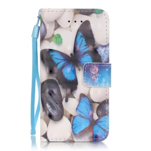 Patterned Wallet Leather Shell for iPhone SE/5s/5 - Butterflies and Pebbles