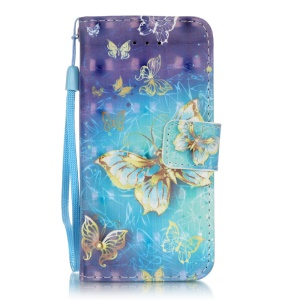 Patterned PU Leather Case with Card Slots for iPhone SE/5s/5 - Beautiful Butterflies