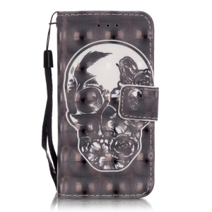 Flip Stand Leather Wallet Case for iPod Touch 6/5 - Skull
