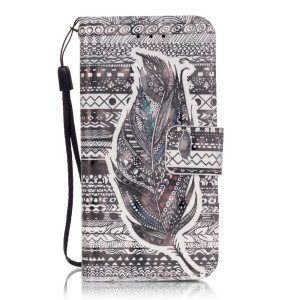 Flip Stand Leather Wallet Cover for iPod Touch 6/5 - Tribal Pattern and Feather