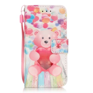 Flip Stand Leather Wallet Shell Case for iPod Touch 6/5 - Pink Bear