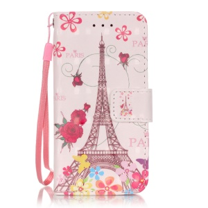 Flip Stand Leather Wallet Cover Case for iPod Touch 6/5 - Eiffel Tower