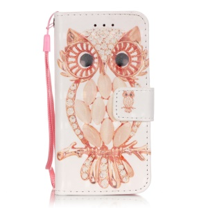 Flip Stand Leather Wallet Protector Case for iPod Touch 6/5 - Stylish Owl