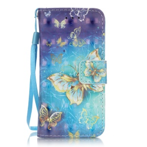 Flip Stand Leather Wallet Protector Cover for iPod Touch 6/5 - Gold Butterflies