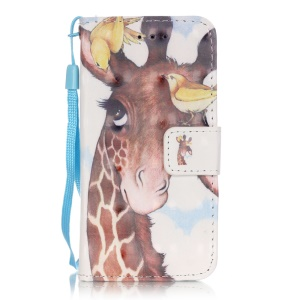 Flip Stand Leather Wallet Phone Case for iPod Touch 6/5 - Giraffe and Bird