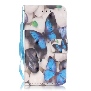 Flip Stand Leather Wallet Phone Shell for iPod Touch 6/5 - Blue Butterflies