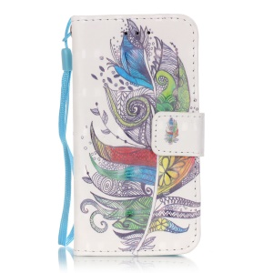 Flip Stand Leather Wallet Phone Cover for iPod Touch 6/5 - Colorized Feather