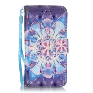 Flip Stand Leather Wallet Protective Case for iPod Touch 6/5 - Mandala Flower