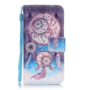Flip Stand Leather Wallet Protection Cover for iPod Touch 6/5 - Dream Catcher