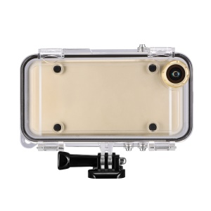 Outdoor Sports Waterproof Case with Wide Angle Lens for iPhone SE/5s/5 - Gold