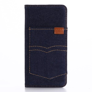 Pocket Jeans Cloth Leather Wallet Cover for iPhone 8 / 7 4.7 inch - Dark Blue