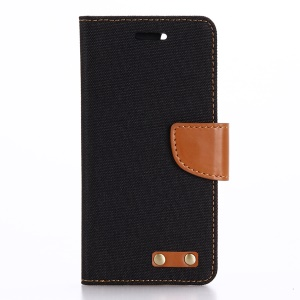 Oxford Cloth Leather Wallet Phone Case for iPhone 7 4.7 - Black Blue