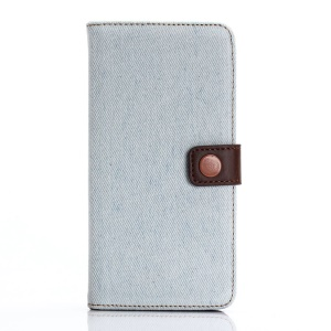 Jeans Cloth Leather Wallet Stand Shell for iPhone 7 Plus - Baby Blue