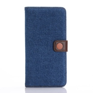 Jeans Cloth Leather Wallet Stand Case for iPhone 7 Plus - Dark Blue