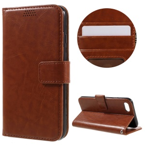 Oil Wax Leather Case Phone Cover with Stand for iPhone 7 4.7 inch - Brown