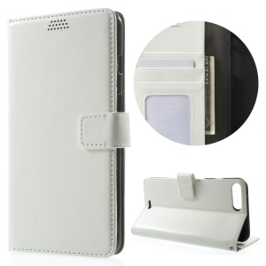Oil Wax Wallet Leather Protection Cover for iPhone 7 Plus 5.5 Inch - White