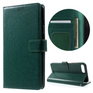 Oil Wax Stand Wallet Leather Case Cover for iPhone 7 Plus 5.5 Inch - Green