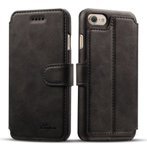 Crazy Horse Leather Wallet Stand Shell for iPhone 7 Plus 5.5 Inch - Black