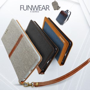 KLD Funwear X Series for iPhone 7 Plus 5.5 Fashion Linen Leather Phone Case - Grey