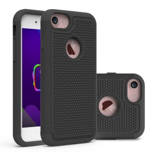 Football Grain PC + Silicone Hybrid Case for iPhone 8/7 - Black