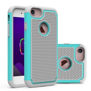 Football Grain PC + Silicone Hybrid Case Cover for iPhone 8/7 - Grey / Cyan